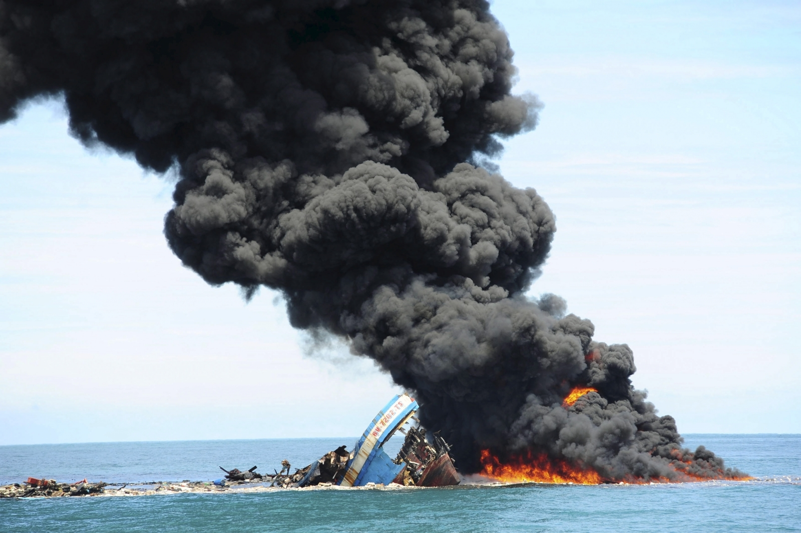 Illegal fishing boat set on fire
