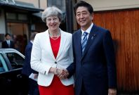 Theresa May with Shinzo Abe