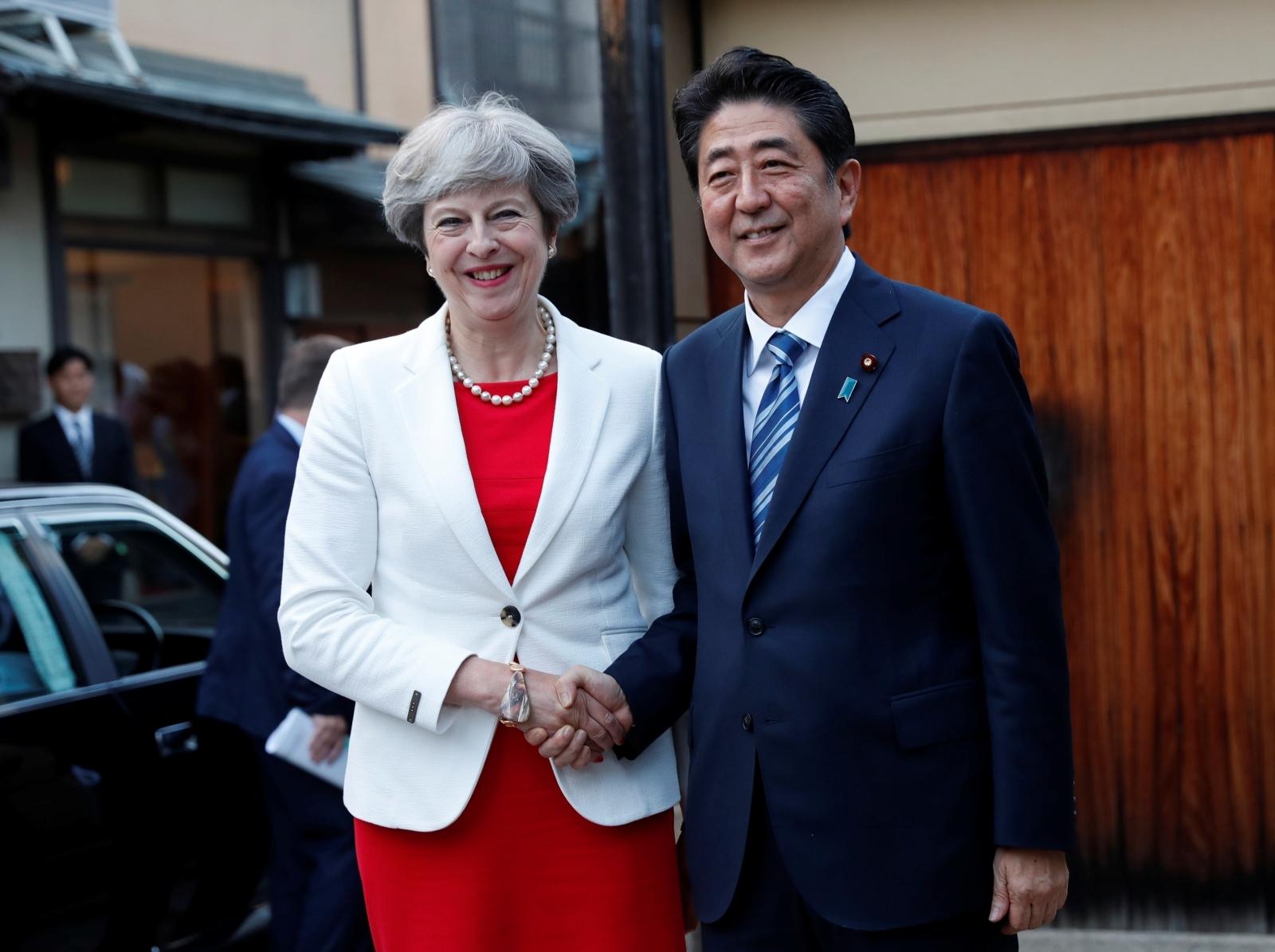 Theresa May with Shinzo Abe