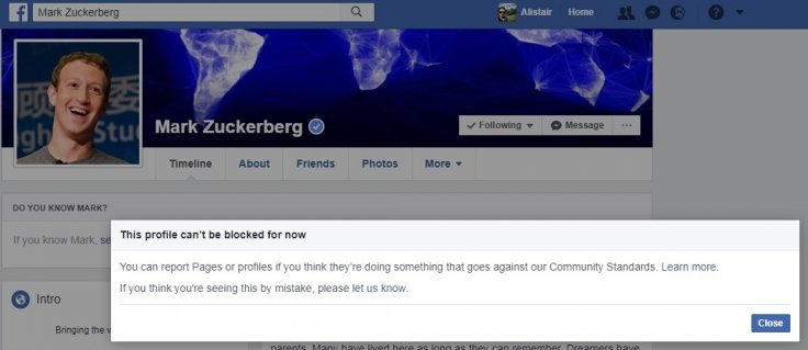Mark Zuckerberg cannot be blocked