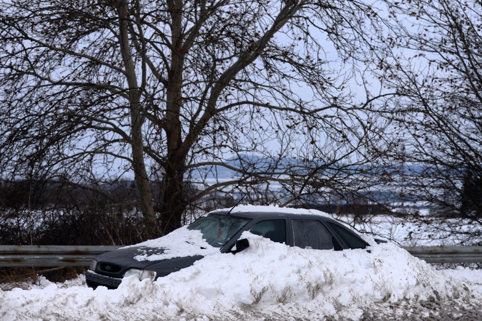 car trapped in snow