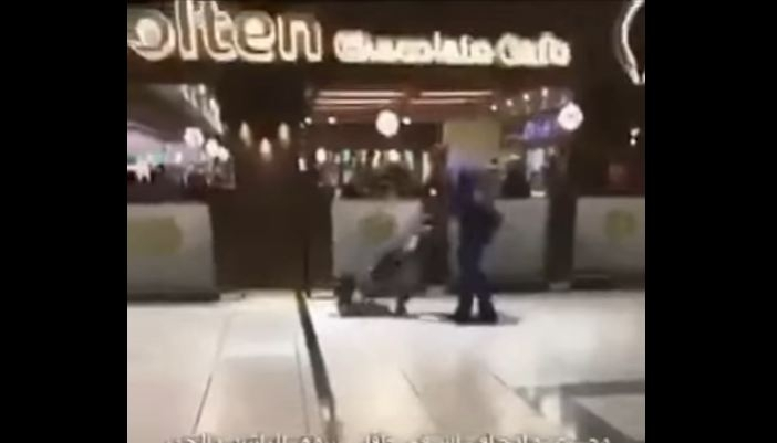 Man beating toddler with stroller