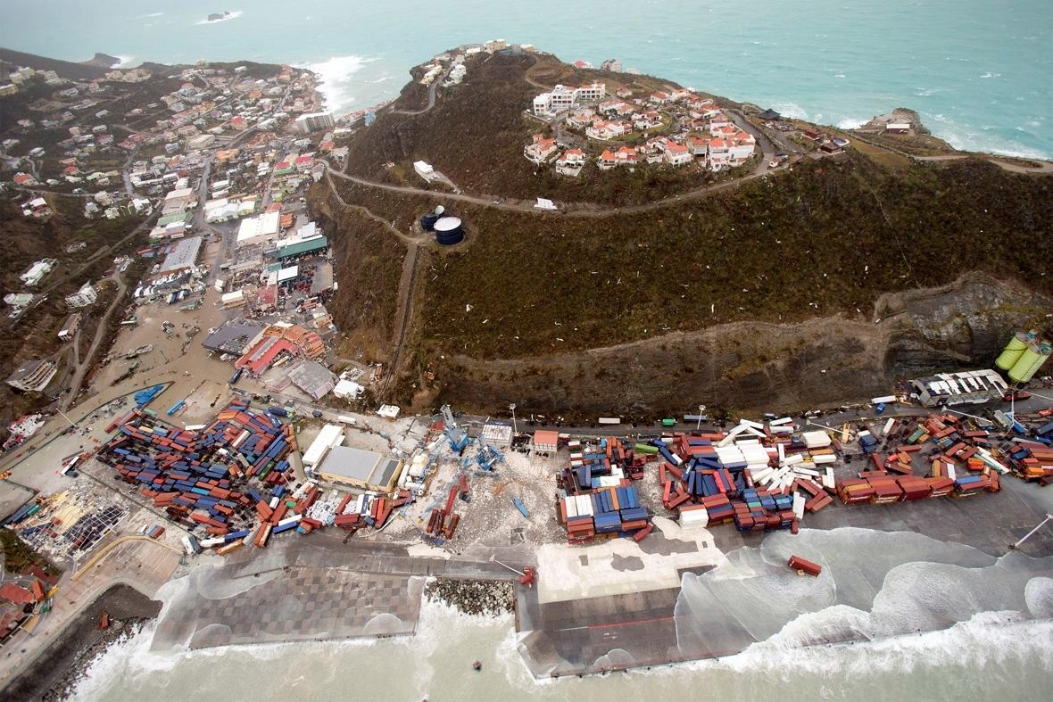 Hurricane Irma aerial photos Sint Maarten