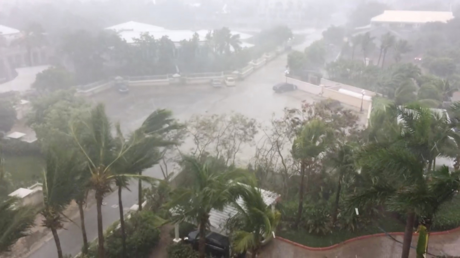 Hurricane Irma sucks water away from shoreline of the Bahamas