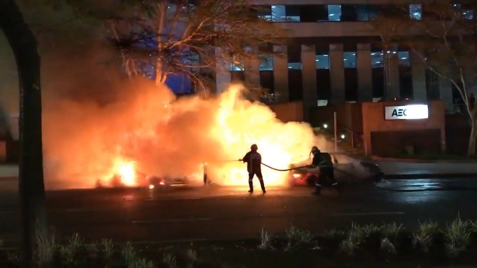 An Uber taxi on fire