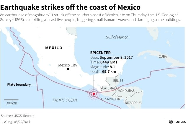 Mexico Earthquake Map 8 September 2017