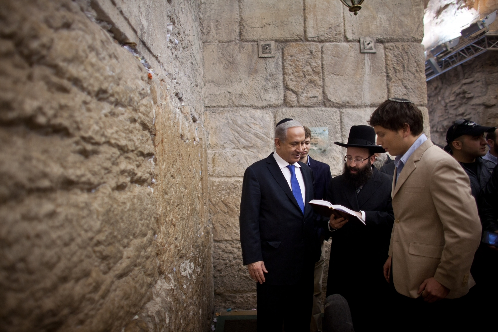 Benjamin and Yair Netanyahu at Western Wall