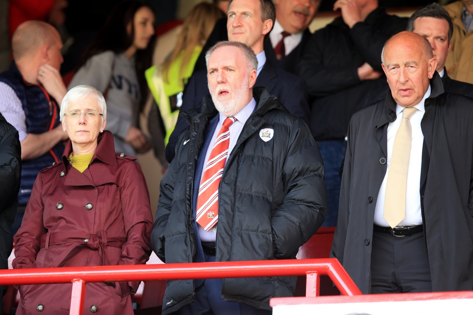 Barnsley Football Club, Patrick Cryne (middle), watching his team play at their Oakwell ground