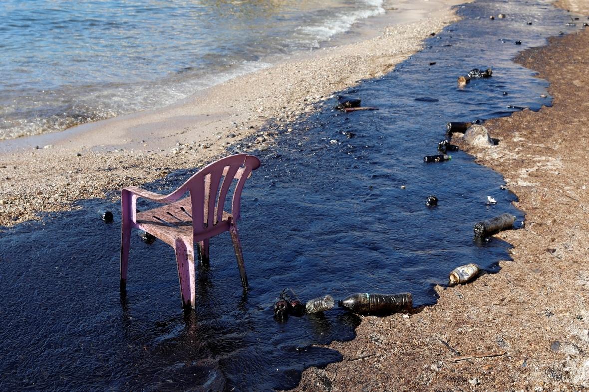Salamina Greece island oil tanker spill
