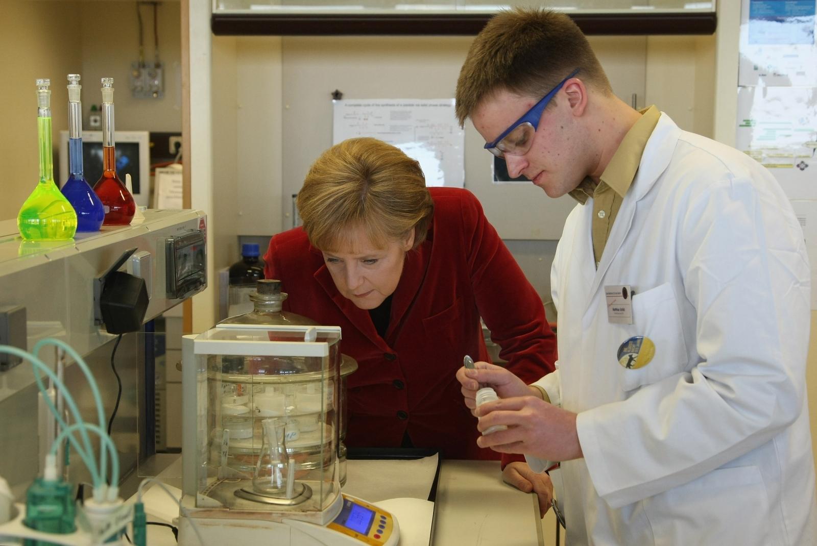 Angela Merkel in a laboratory