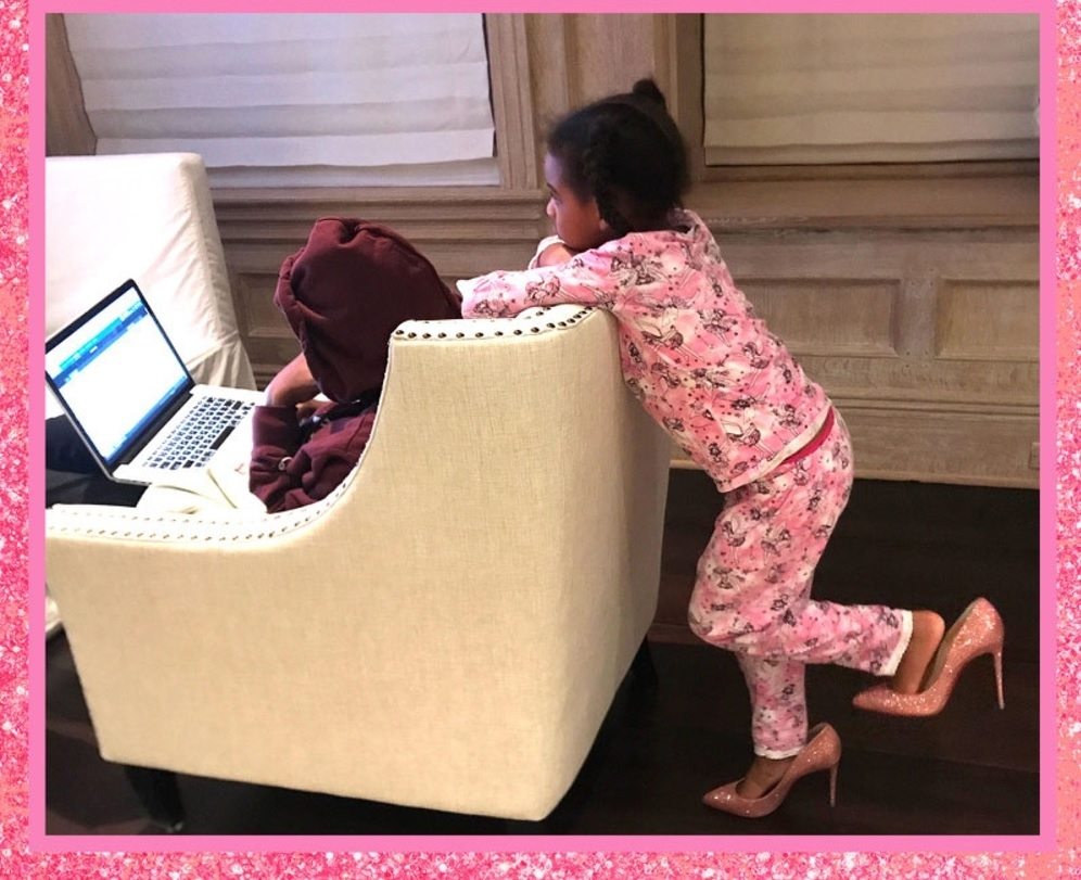 Blue Ivy Plays Dress Up In Beyoncé's Pink Louboutin Heels