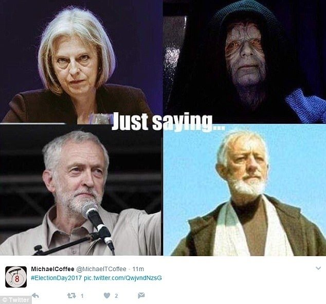 Jeremy Corbyn and Theresa May meme