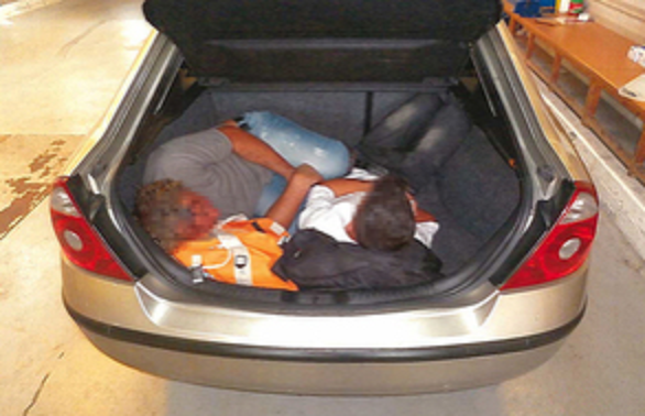 Birmingham people smugglers caught with three Albanians in a car boot near Calais