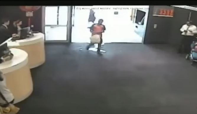 Man setting himself on fire in bank