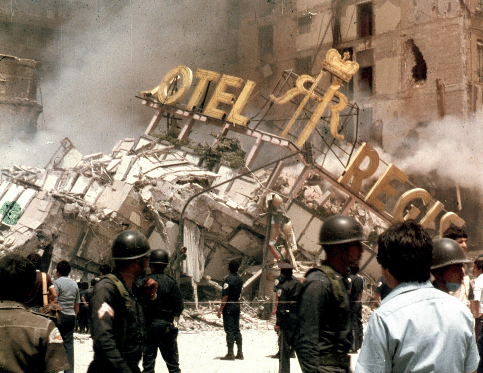 The Hotel Regis in Mexico City's Alameda Park Square collapses after the country's devastating earthquake on 19 September 1985 – leading the country to strengthen building codes and adopt emergency drills