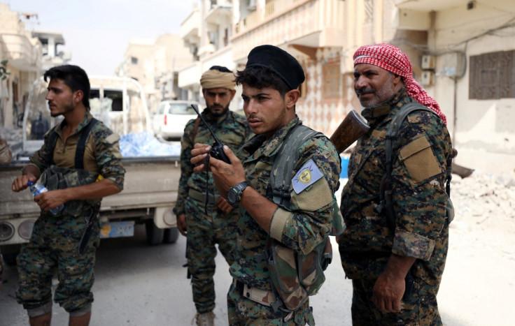 SDF fighters in Raqqa