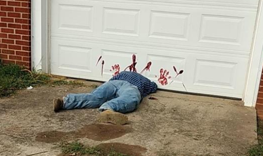 Police warn that Halloween decoration is not a crime scene