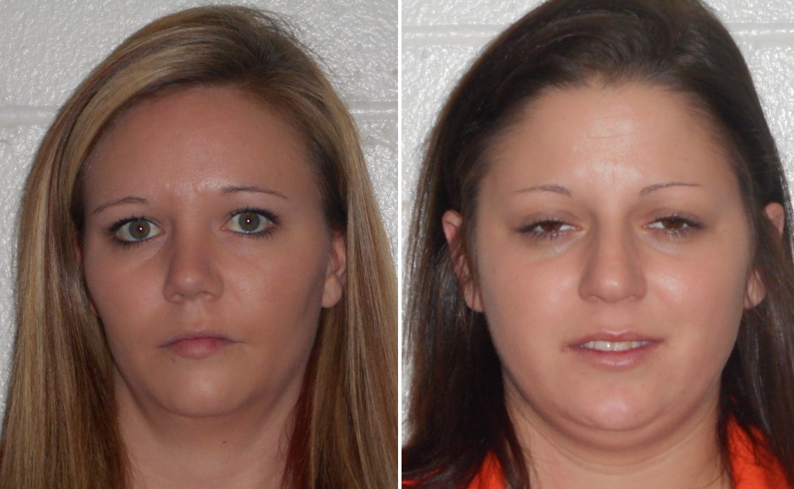 Mother Rachel Jean Stevens (l) and her partner Kayla Ann Jones beat her five-year-old son with a hammer during a horrific period of abuse leading the toddler to suffer two strokes