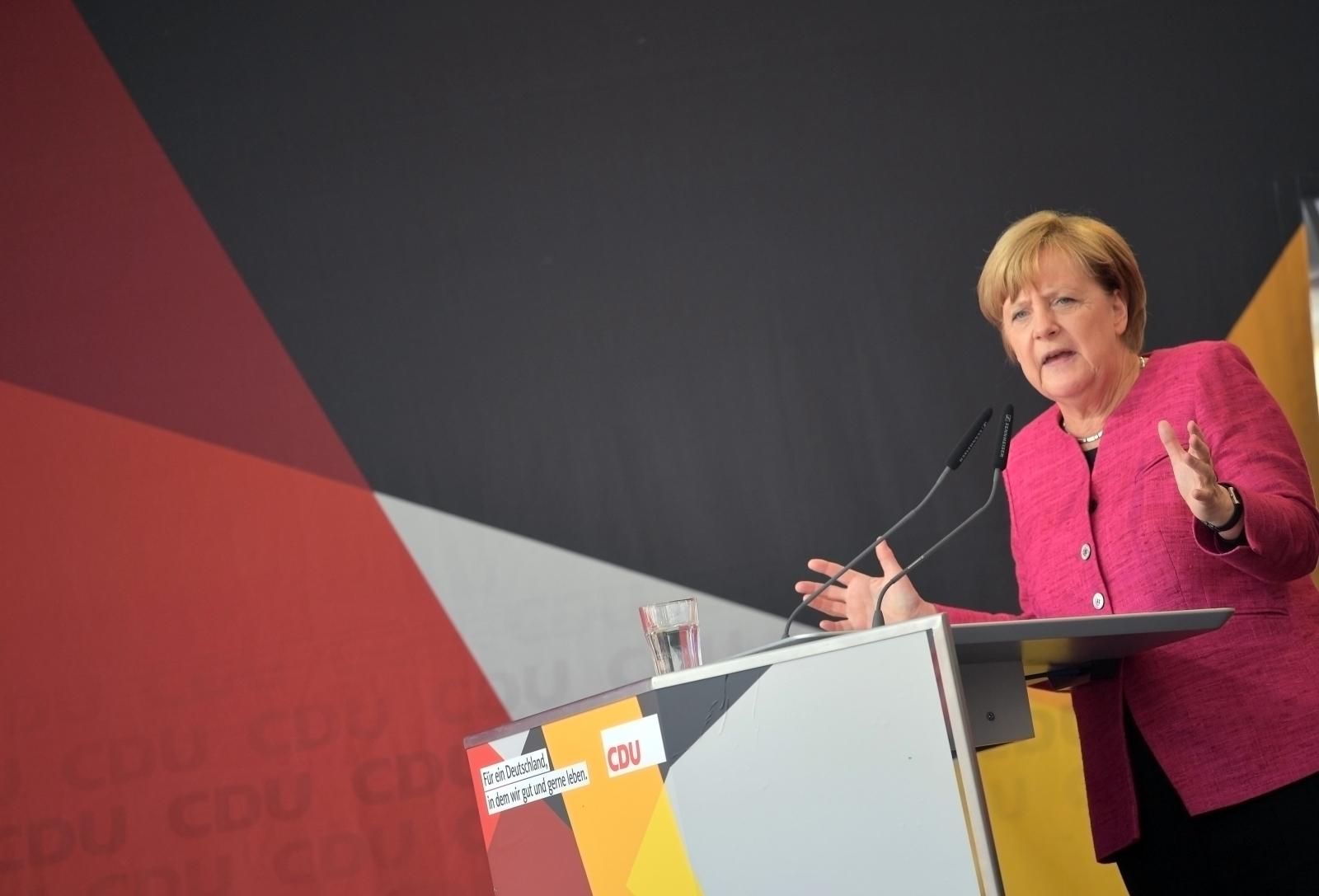 Angela Merkel campaigning in Germany