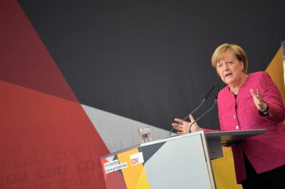 Angela Merkel campaigning in Germany