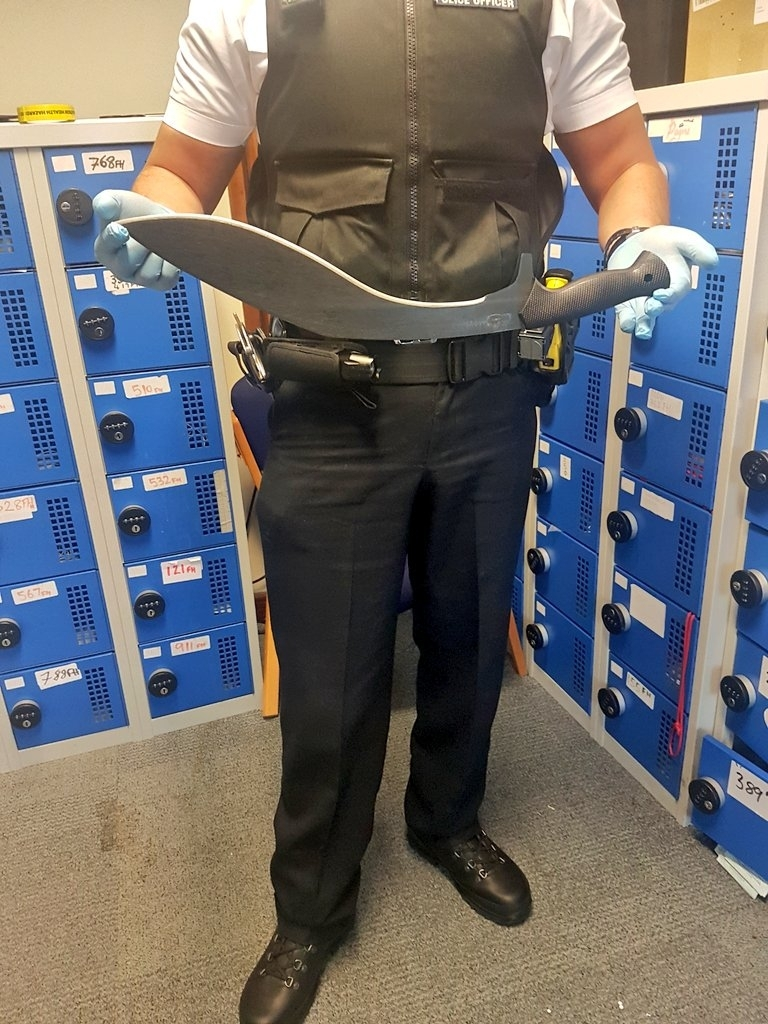 This enormous knife was handed into an amnesty bin outside Hammersmith Police station, west London