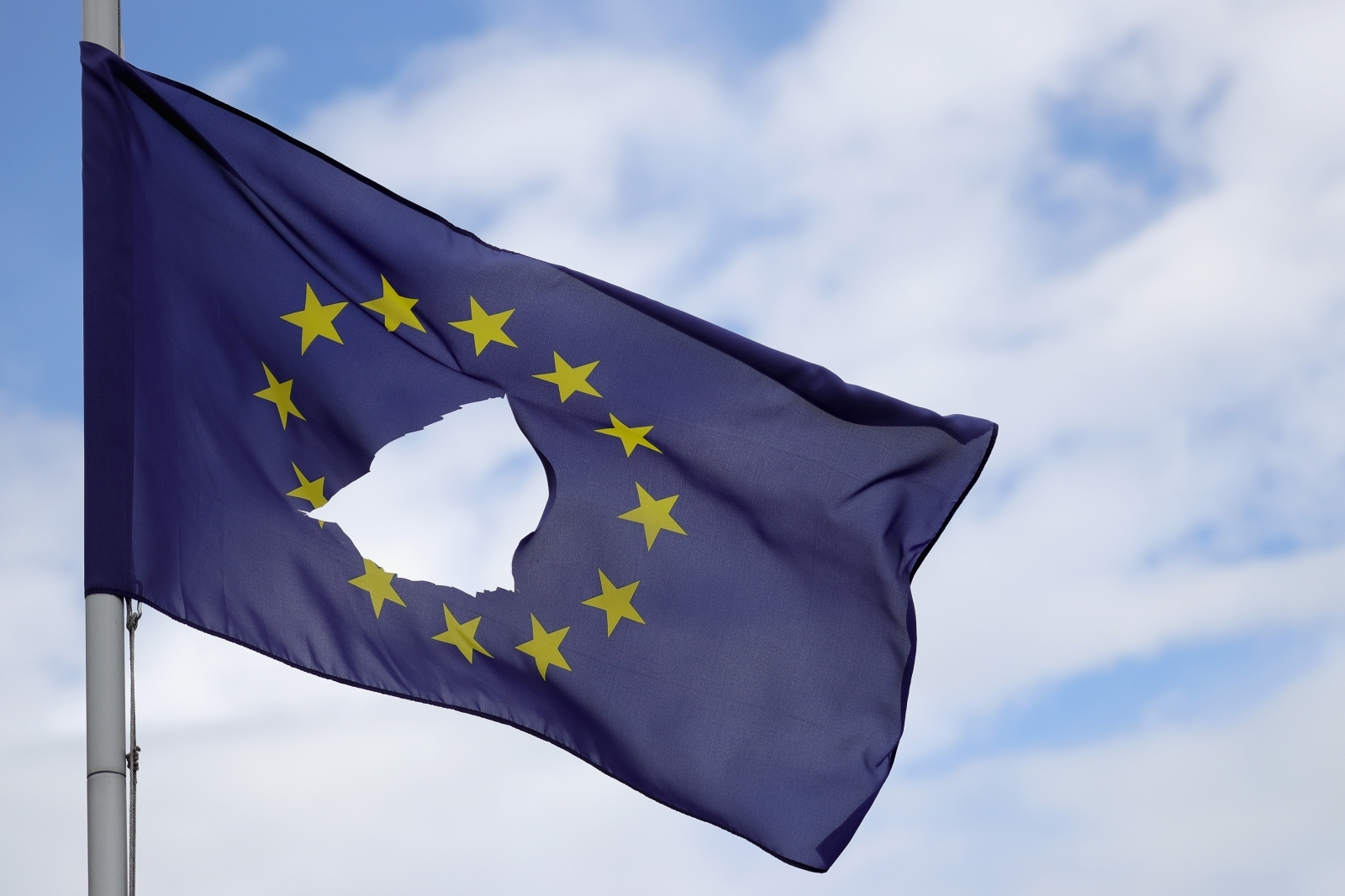 Torn EU flag