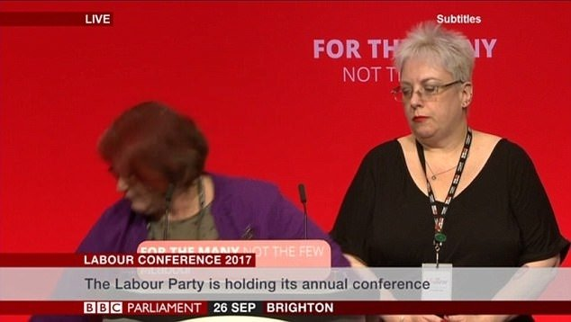 Hazel Malcolm-Walker collapses to the stage a minute into her speech