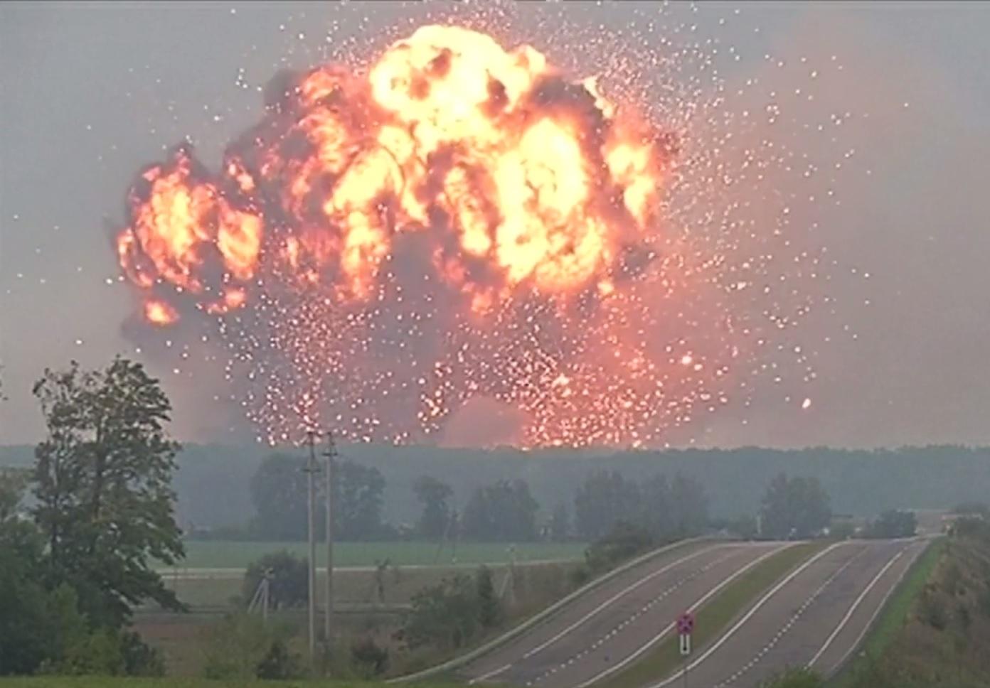 ammunition dump explosion Ukraine