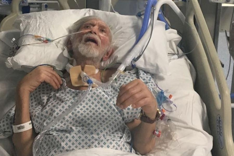 Ahmet Dobran in hospital after his attack