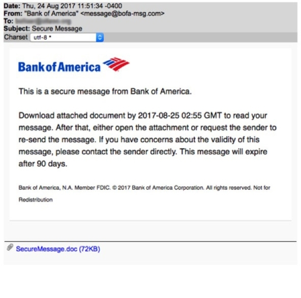 phishing message