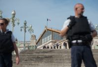 French police outside Marseille station