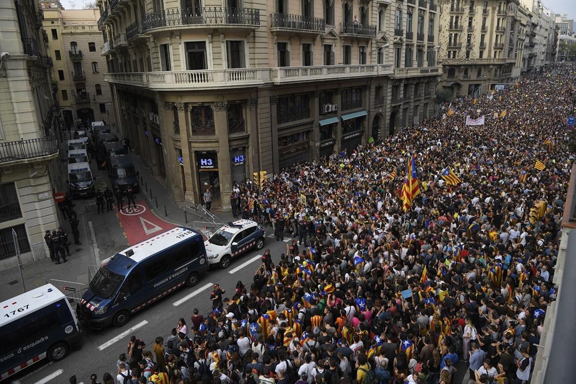 Catalonia general strike Barcelona