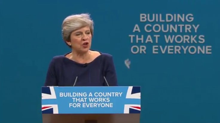 Conservative Party Slogan Sign Falls Apart During Disastrous Theresa May Speech