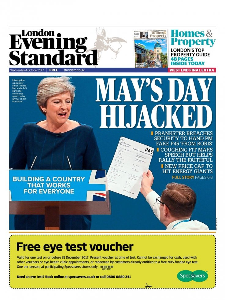 Evening Standard front cover