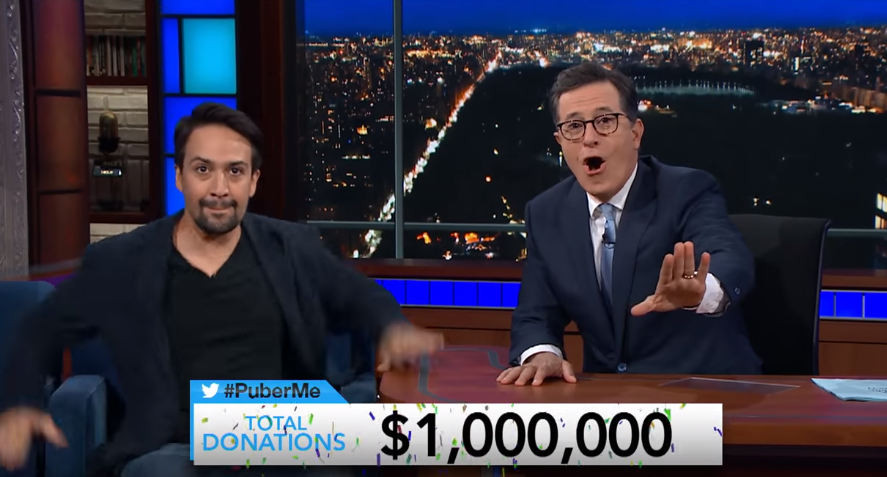 Lin-Manuel Miranda and Stephen Colbert