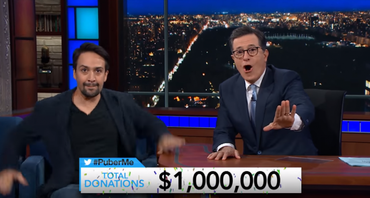 Lin-Manuel Miranda and Stephen Colbert