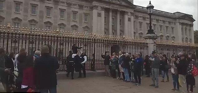 Woman climbs gates at Buckingham Palace