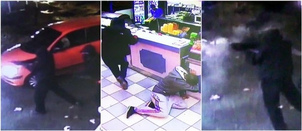 CCTV images capture the gunman and customers taking cover from the attack at the Birmingham chip shop