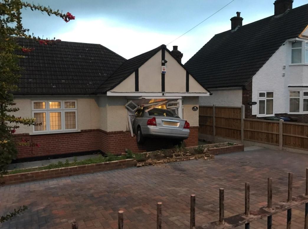 Man drove car into own home