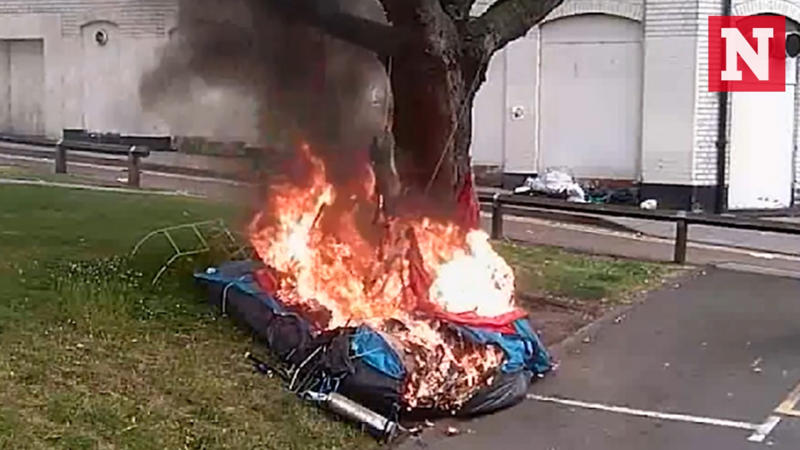 cctv-shows-arsonist-setting-homeless-mans-tent-on-fire-while-he-was-inside