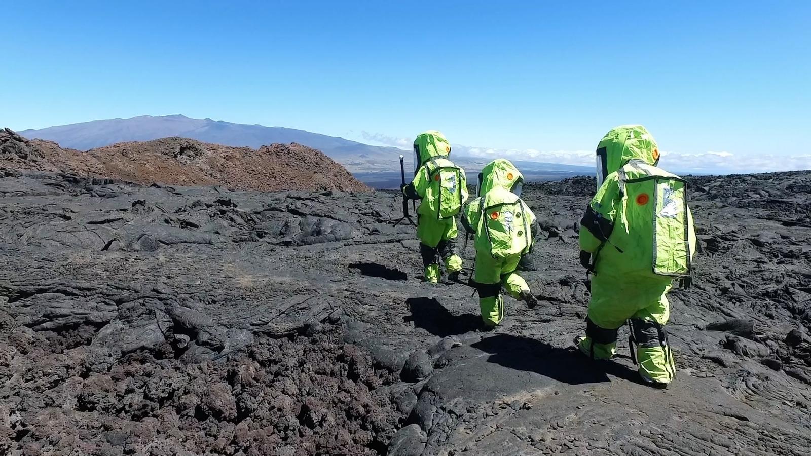 Walking across lava fields