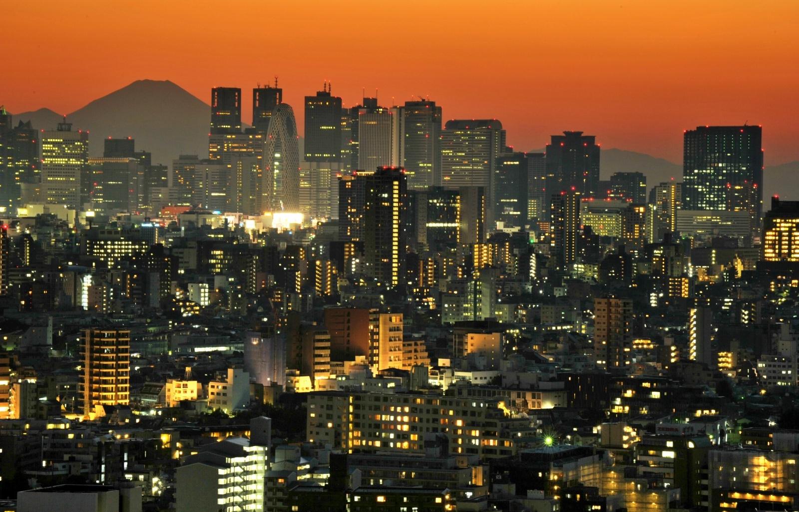 Mount Fuji behind Tokyo