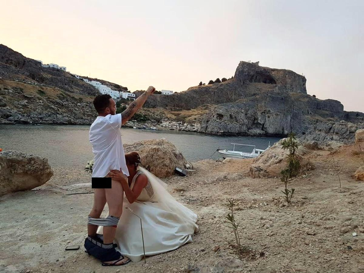 Newlyweds Matthew and Carly Lunn posted a pic of them apparently performing a sex act in front of the scared monastery of St Paul in Rhodes where they had just been married