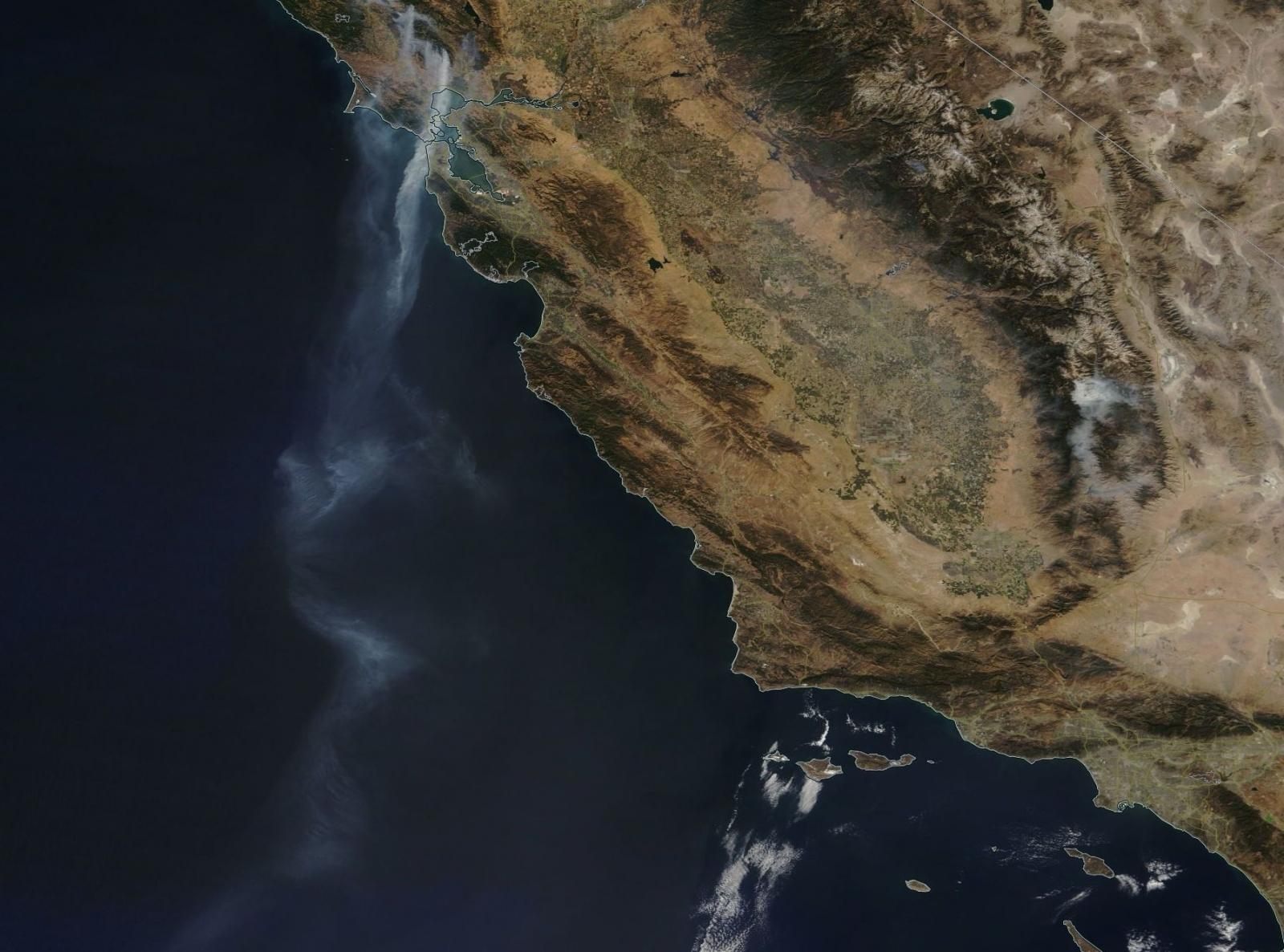 NASA california fire smoke tail