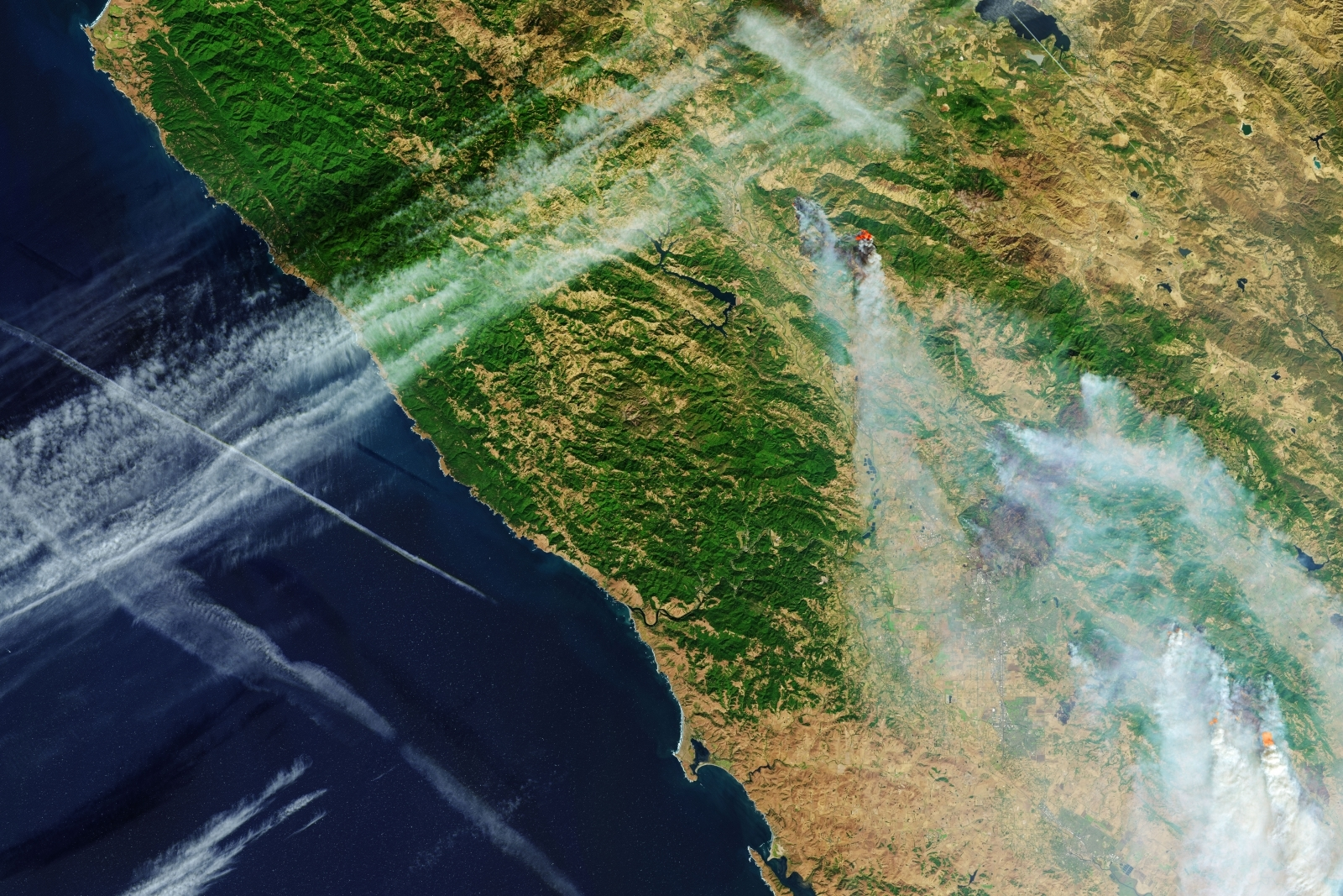 Image result for NASA Shares A Shocking Image Of The California Wildfires From Space