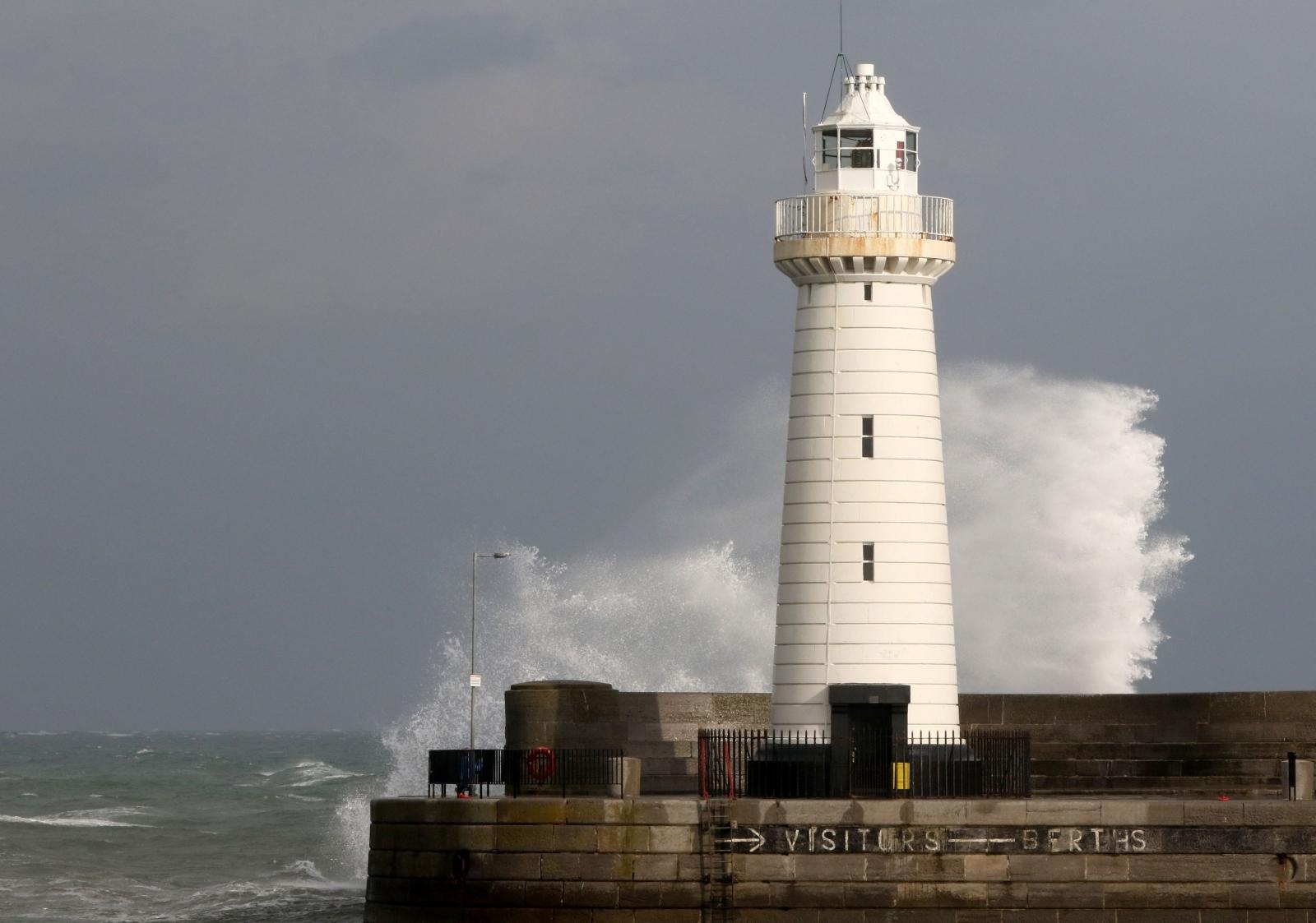 Storm Ophelia Donaghadee lighthouse Northern Ireland