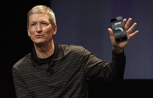 Tim Cook with iPhone 5