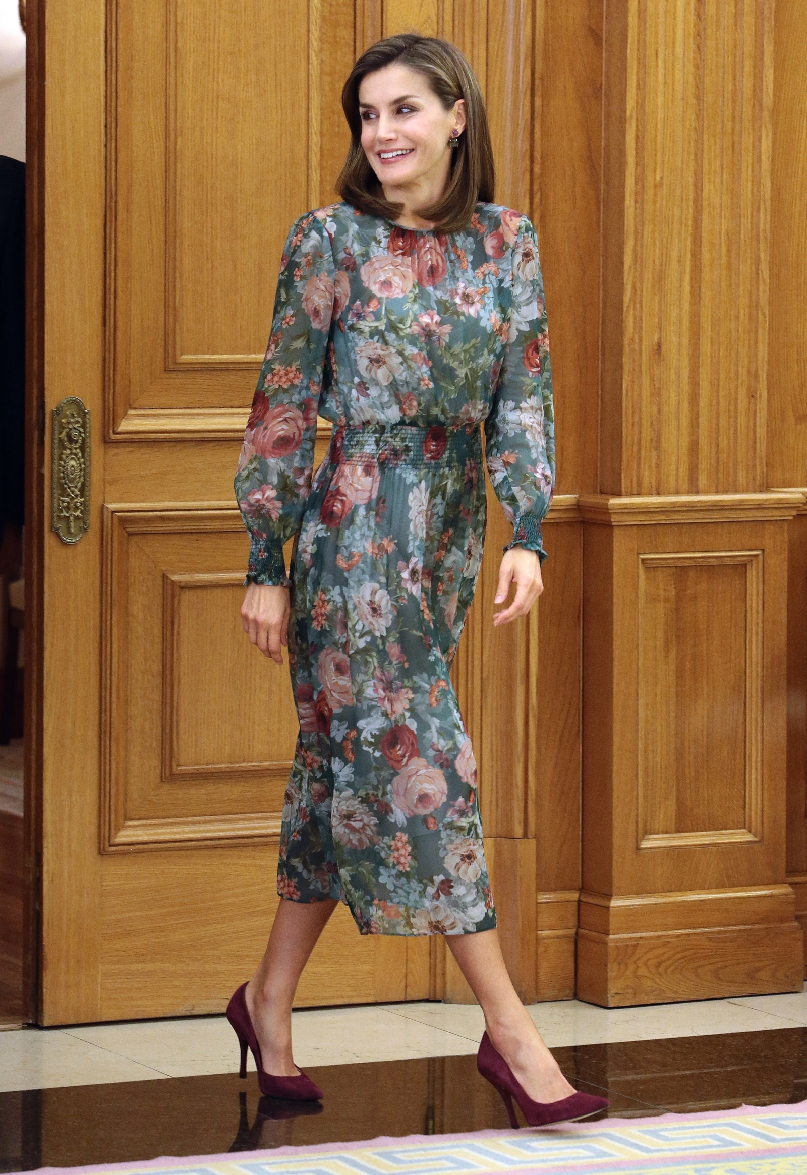 Queen Letizia of Spain recycles her favourite floral shirt dress