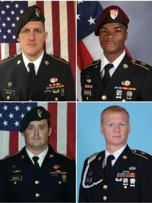 Clockwise from top left: Bryan Black, La David Johnson, Jeremiah Johnson and Dustin Wright were killed while serving in Niger.