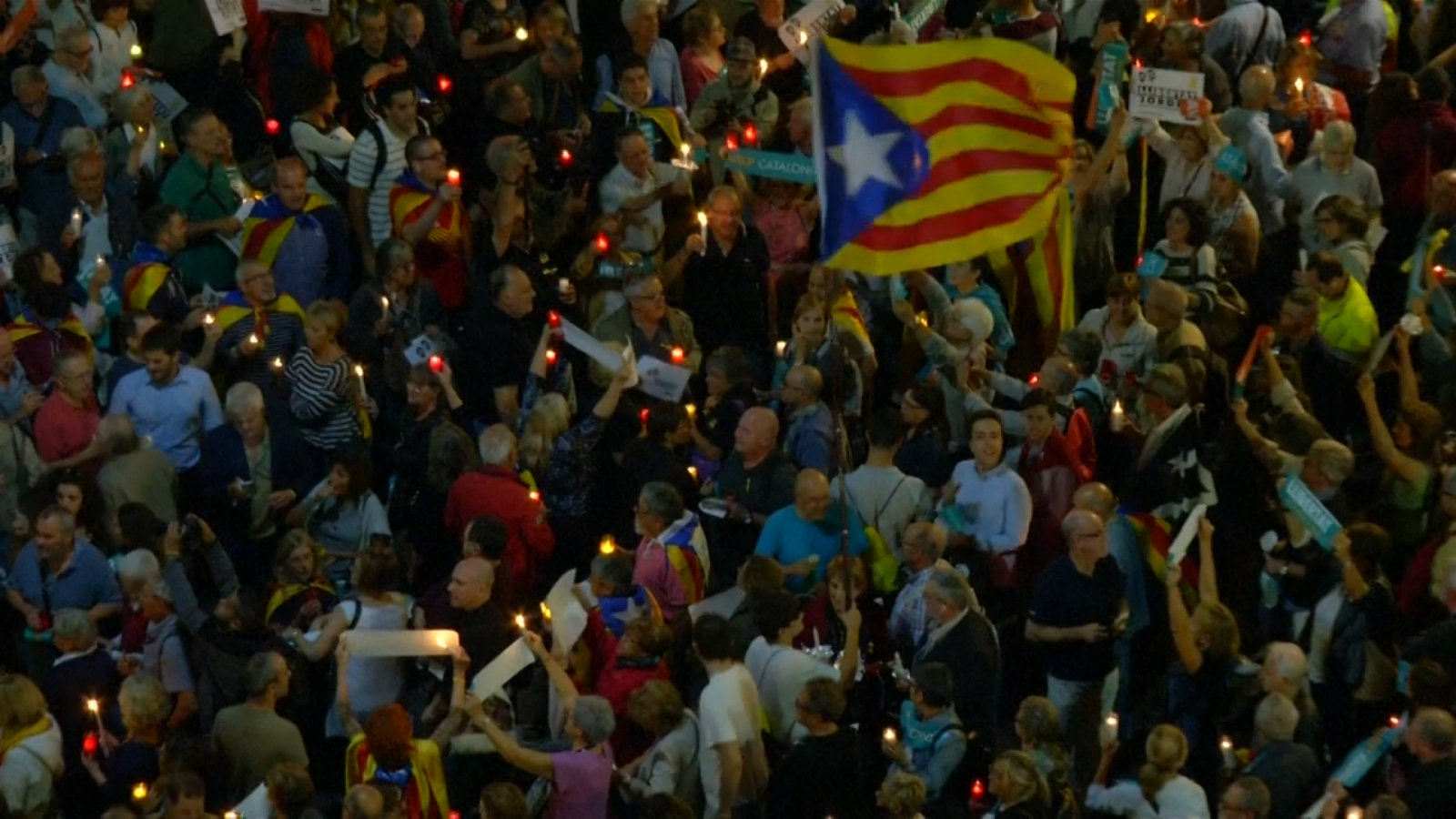 Tens of thousands rally in Barcelona as Spain's political crisis deepens